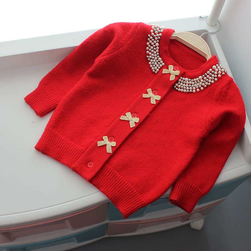 Image 2 - Christmas Jacket for Girls Sweater Autumn Winter Cardigan Woolen  Children Sweater Knitted Bow Pearl Girls Clothes Outerwear-in Sweaters from Mother & Kids
