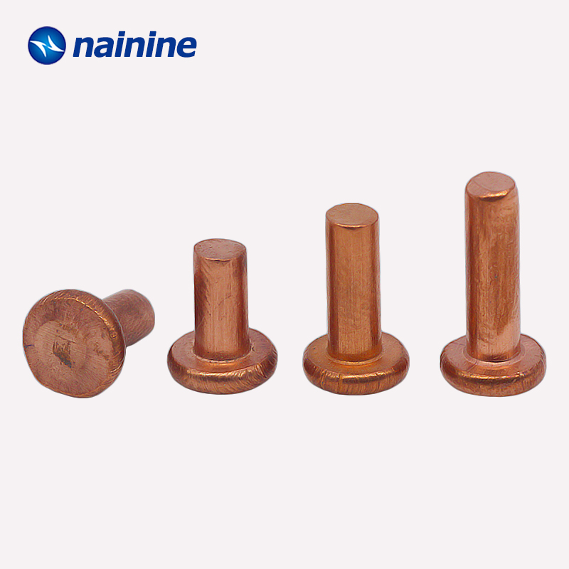 20/50Pcs M2 M2.5 M3 M4 GB109 Copper Solid Rivets AL Knock Flat Head Rivet HW209
