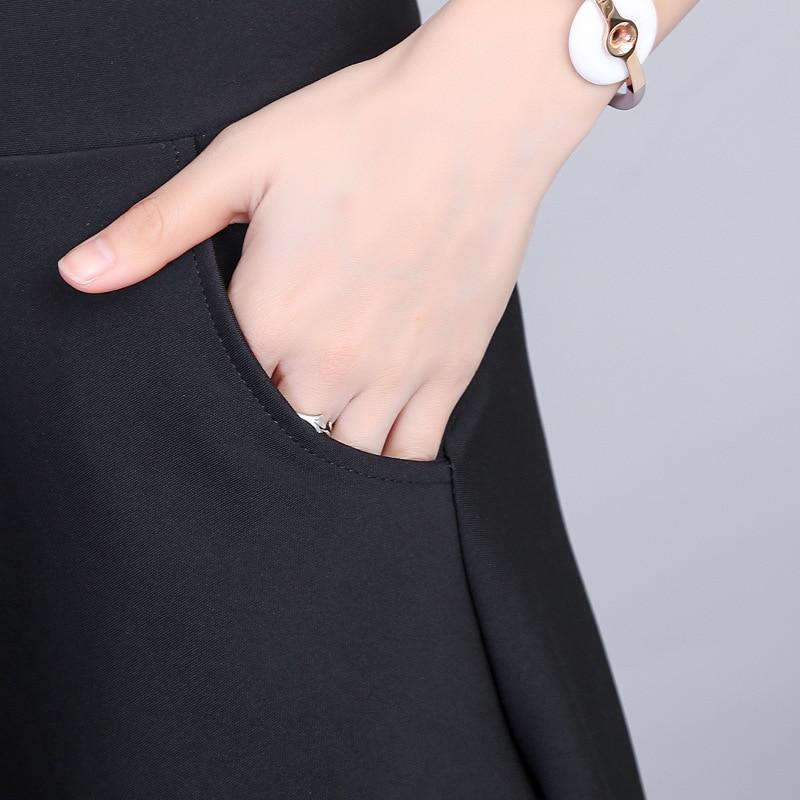 2019 Spring & Autumn Women Pleated Skirt Korean Slim Sexy Solid Color Oblique Pocket Elastic High Waist Skirt Black Mini Skirt