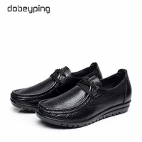 High Quality Genuine Leather Women S Casual Shoes Lace Up Flats Shoes Women Soft Mother Loafers