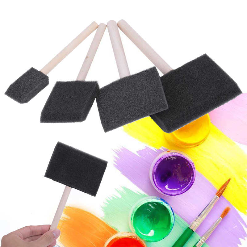 "US Art Supply 4/"" Foam Sponge Wood Handle Paint Brush Set 10pc Paint Acrylics"