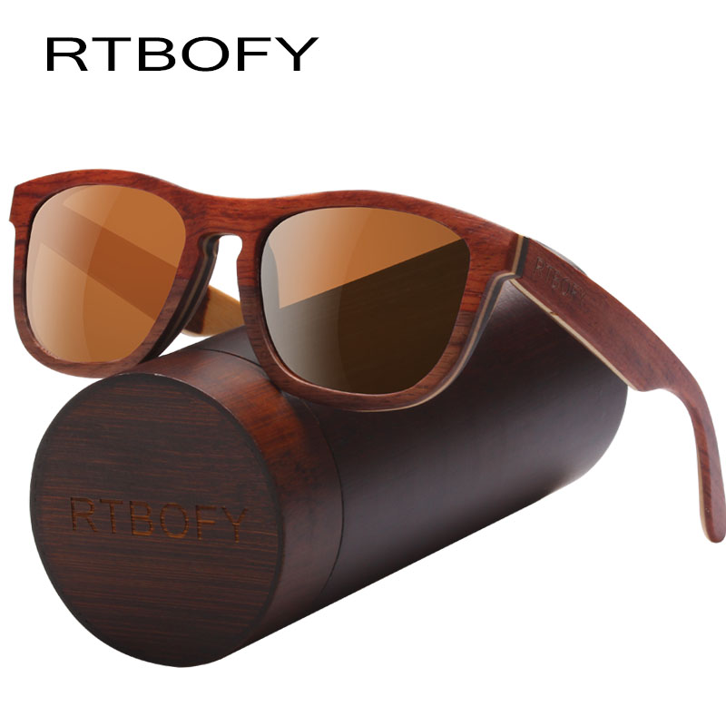 RTBOFY Sun Glasses For Men Square Wood Plywood Wood Sunglasses Women Brand Designer with Wooden Box
