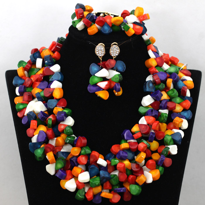 Luxury African Nigerian Wedding Statement Necklace Set Full Coral Beads Bridesmaid Jewelry Set Free Shipping CNR462 new fashion nigerian african wedding coral beads jewelry set chunky statement necklace set full beads free shipping cnr345