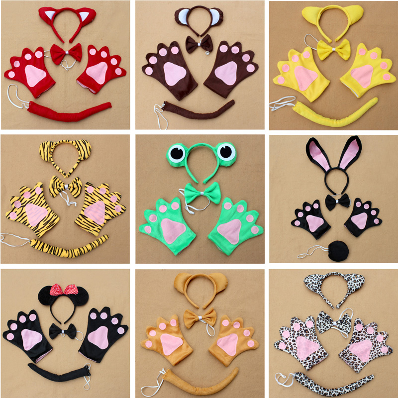 Wholesale Children Halloween Party Costume Dress Up Cow Dog Wolf Frog Pig Animal Sets Include Headband Bow Tie Gloves Tail