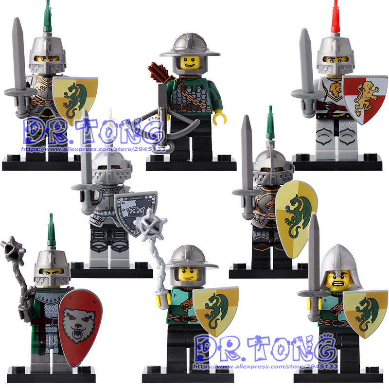 DR.TONG X0148 Medieval Knights Super Heroes Kingdom Frieghtening Dragon Kinight Gladiatus Figures Warrior Building Blocks Toys