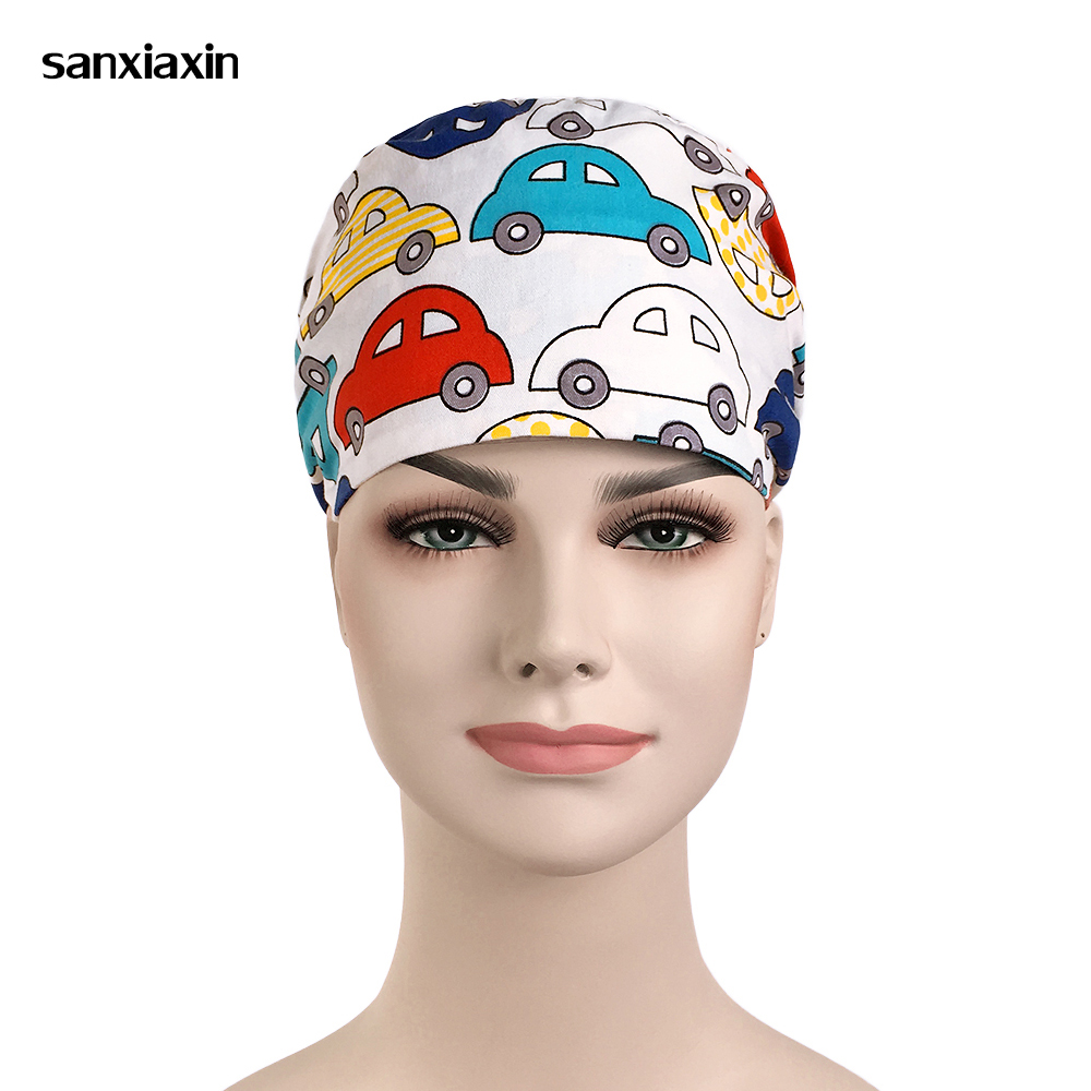 Sanxiaxin Wholesale Cartoon Medical Hospital Laser Eye Operating Room Work Cap Elastic Bandage Unisex Surgical Nurse Doctor Hat