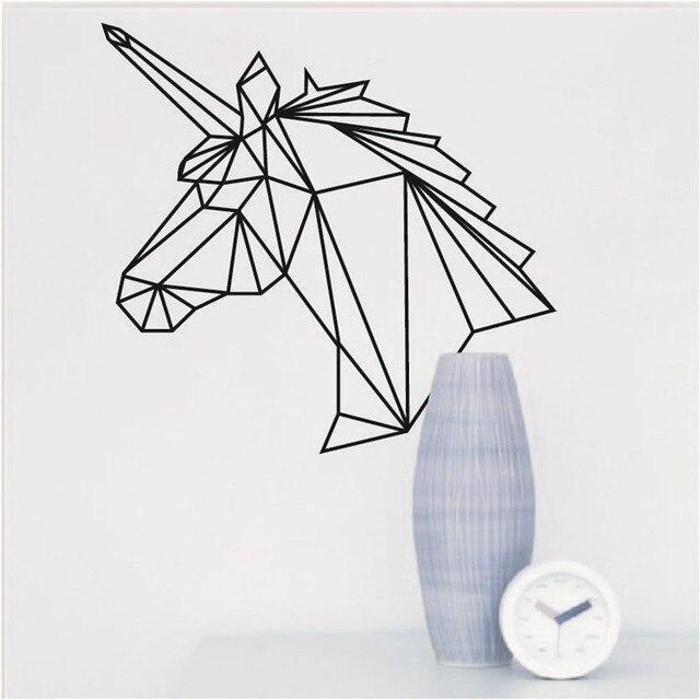 einfache kreative geometrische einhorn kopf muster wandaufkleber selbstklebende pvc tapete pferd. Black Bedroom Furniture Sets. Home Design Ideas