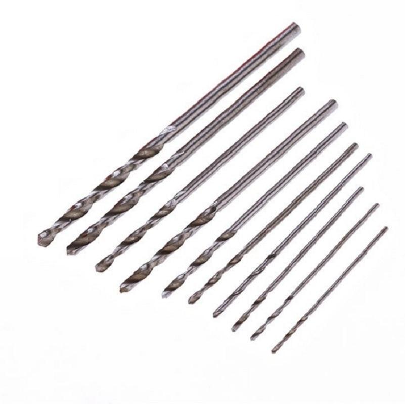 100pcs 10sizes Twist Drills Bits Set 0.5/0.6/0.7/0.8/0.9/1.0/1.2/1.4/1.6/1.8/2.0mm 4341