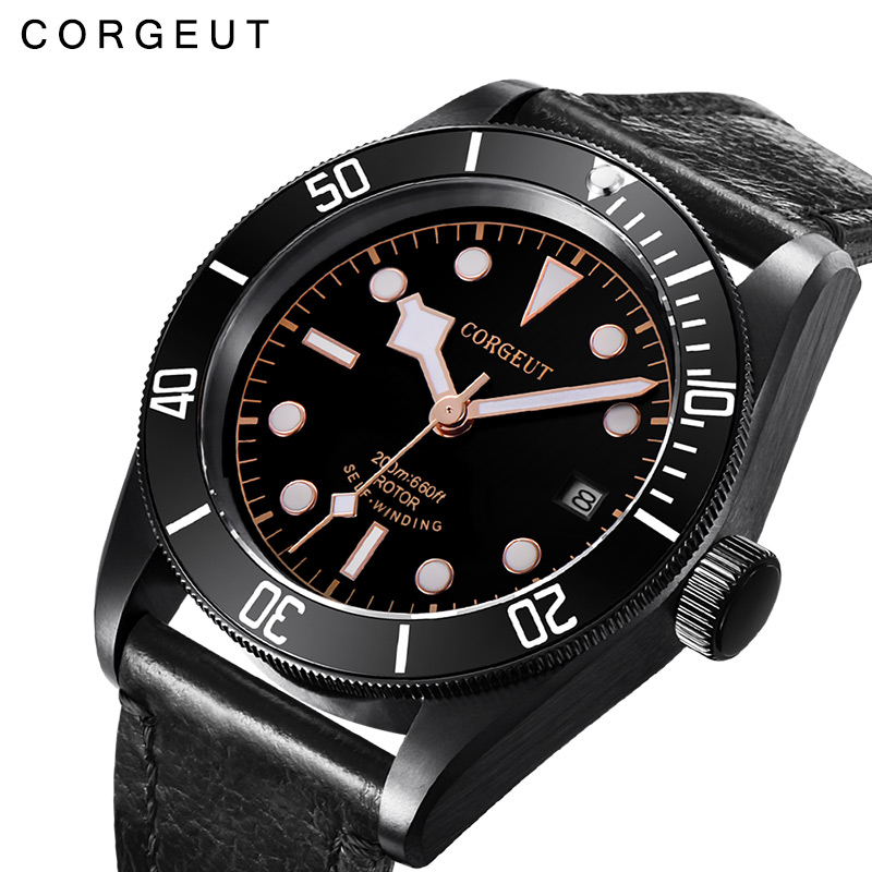 где купить 41mm Corgeut Black belt mechanical watch men's waterproof automatic mechanical watch fashion men's watch дешево