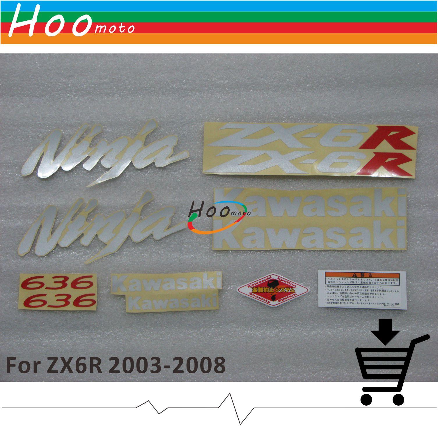 Silver zx6r 2006 ninja full decals sticker graphics set kit 636 motorcycle car for kawasaki zx 6r 03 04 05 06 07 08 z qg k 06b