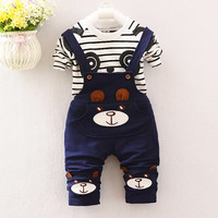 2017 Baby Boys Clothing Sets Cartoon Bear Kids Clothes Cotton Overalls Suits For Child Costume Kids
