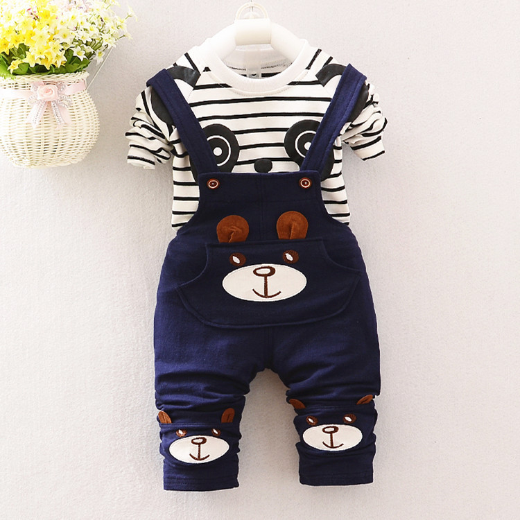 2017 baby boys clothing sets cartoon bear kids clothes cotton overalls suits for child costume kids suit shirt+pants 2pcs bebe