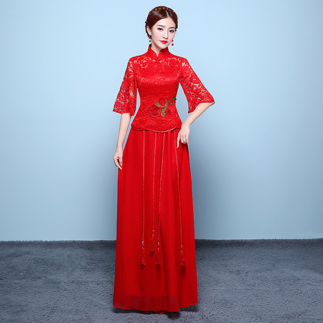 95d6aa25a Modern Chinese Wedding Dress Red Flower Embroidery Qipao Vintage Cheongsam  Women Traditional Bride Qi Pao Xiu Wo Robe Orientale