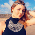 Hot Sell Gypsy Ethnic Necklaces Retro Metal Carving Coins Gold And Silver Plated Statement Necklaces For Women Jewelry