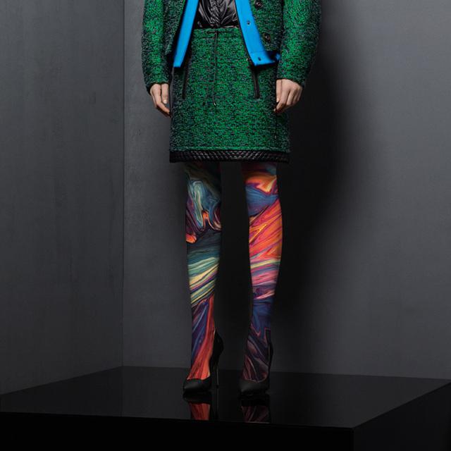 2016 Limitada Meias Calças Justas 2017 Primavera Nova Meia-calça Cor Pigmento Pintura A Óleo Abstração do Fluxo de Tinta Impressão Moda Primer
