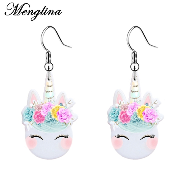 Menglina Fashion Cute Flower Horse Earring Jewelry Kids Multicolor White Acrylic Dangle Earrings Children Oorbellen Hangers
