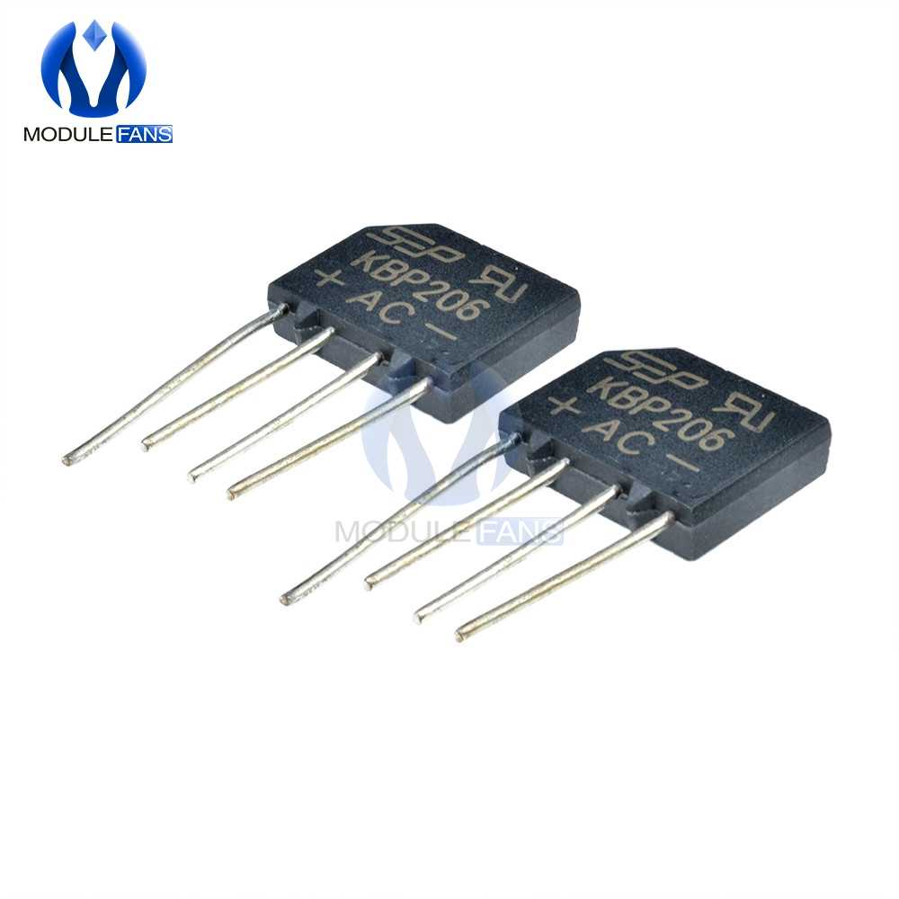 10pcs  600V 2A KBP206G KBP206 Diode Bridge Rectifier 4PIN SIP-4 Single Phase Diy Electronic 4P