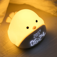 Cartoon Cute Time Bird Silicone Touch LED Night Light Alarm Clock USB LED Night Lamp For Children Baby Kids Bedside Lamp