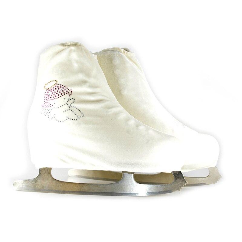 Prix pour 24 Couleurs Enfant Adulte Velours Glace Figure Couverture de Chaussures De Patinage Patin À Roulettes Tissu Couverture Accessoires Blanc Ange Strass