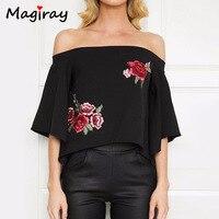New Embroidery Rose Women S Shirt Back Open Fork Women Blouses 2016 Slash Neck Camisas Mujer