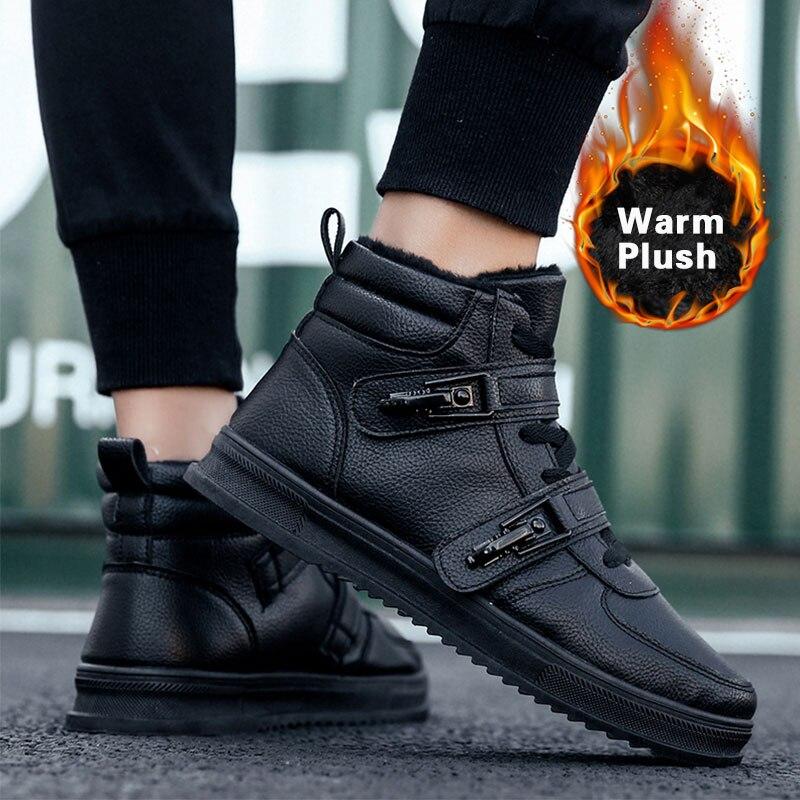 SUROM de los hombres de invierno de botas de cuero de alta calidad de nieve de peluche de felpa zapatos de tobillo botas Casual impermeable de algodón de los hombres zapatos de hombre calzado