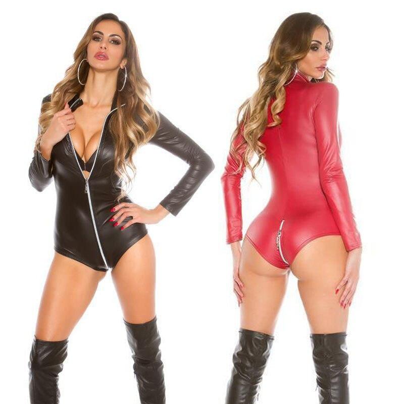 Buy Sexy Long Sleeve Faux Leather Bodysuit Lingerie Open Crotch Zipper Front Catsuit Women Erotic Vinyl Lingerie Pole Dance Costumes