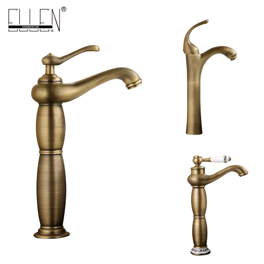 Antique Copper Bathroom Faucet Tall Vessel Basin Sink Water Mixer Hot and Cold Single Hole antique bathroom vanity sink faucet single ceramic handles brass hot and cold basin mixer copper pop up drain