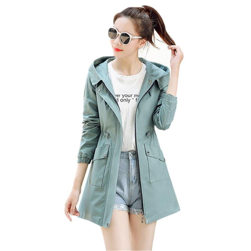 Windbreaker Female Spring   Trench   Coat Women Slim Hooded Long Sleeve   Trench   Coats Streetwear Plus Size Women   Trench   Coats Q1146