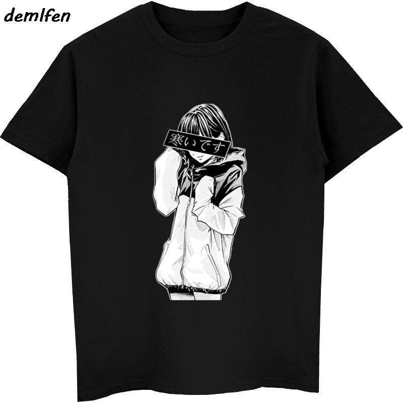 Fashion Men Short Sleeve O-neck Cotton T Shirt Sad Girl Retro Japanese Anime Vaporwave Funny T-shirt Hip Hop Tees Tops Harajuku