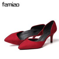 FAMIAO Women Pumps High Heels Quality Silk Material Thin Point Toe Shoes All Match Big Size