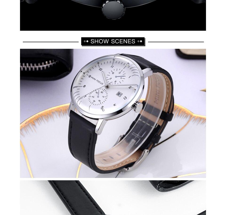 MINI FOCUS Mens Watches Top Brand Luxury Quartz Watch Men Calendar Bussiness Leather relogio masculino Waterproof reloj hombre