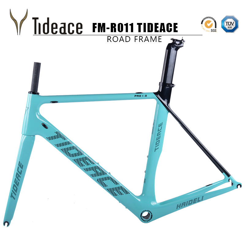 Tideace carbon fiber bicycle frame track bike frame carbon super good quality racing road frameset BSA customize color 2017 flat mount disc carbon road frames carbon frameset bb86 bsa frame thru axle front and rear dual purpose carbon frame