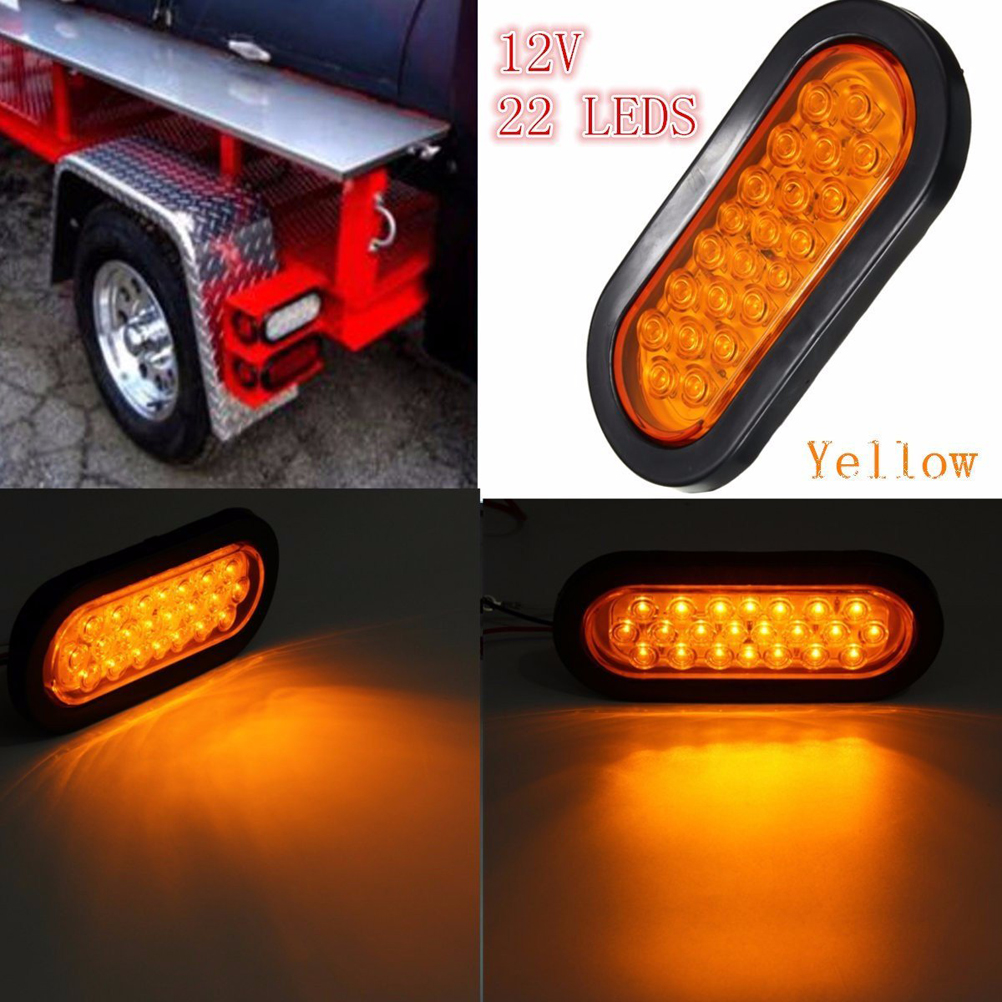 2pcs 12V 22-LED Oval Red Stop/Turn Signal/Brake/Marker/Tail LED Light Flush Mount for Truck Trailer Trail Bus (Yellow)
