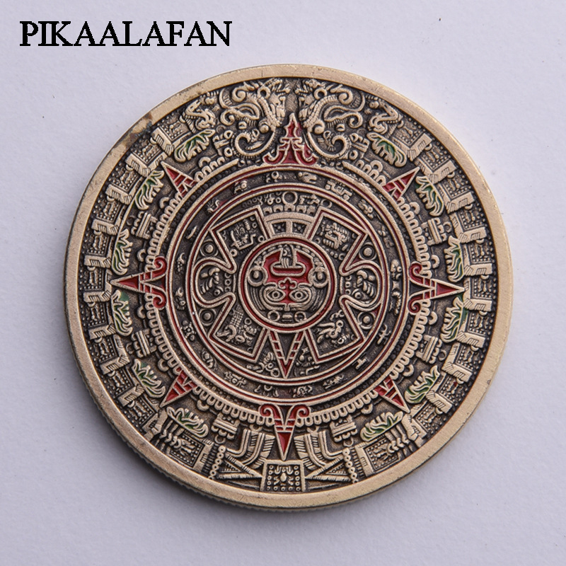 PIKAALAFAN Mexican Azitekemaya Lacquer Dragon Bronze Commemorative Coin Mayan Sundial Pyramid Lucky Medal