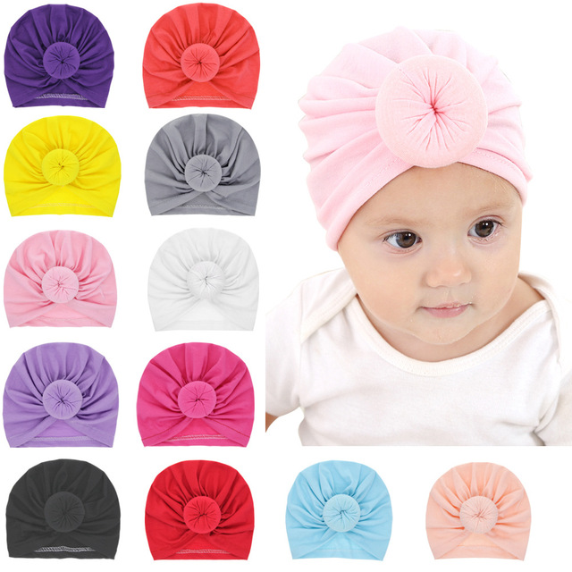 99e277d88db Newest Baby hats caps with knot decor kids girls hair accessories Turban  Knot Head Wraps Kids Children Winter Spring Beanie