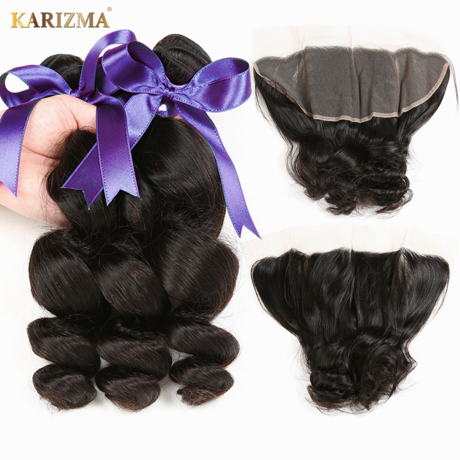 Karizma Indian Loose Wave Bundles With Frontal Lace Closure 13X4 Indian Human Hair Weaves With Frontal Closure 4 Pcs Thick End