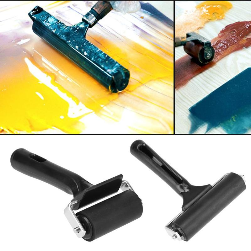 Black Rubber Roller Brush Handle DIY Craft Tools Brayer Rubber Roller Paint Art Accessary Painting Hand Wall Home Professional