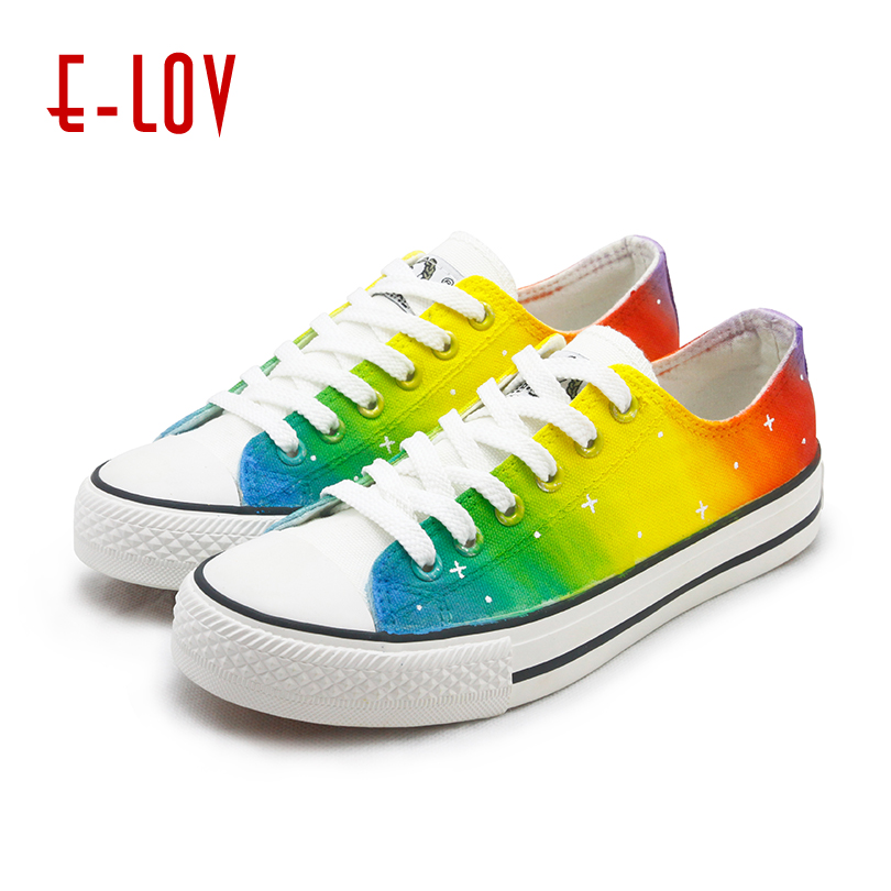 E LOV Rainbow Shoes Women 2018 Fashion Harajuku Lovers