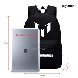 Image 2 - 2018 School Shoulders Soccer Bags Messi Backpack Logo Printing Luminous Backpacks For Children Kids Travel Mochila