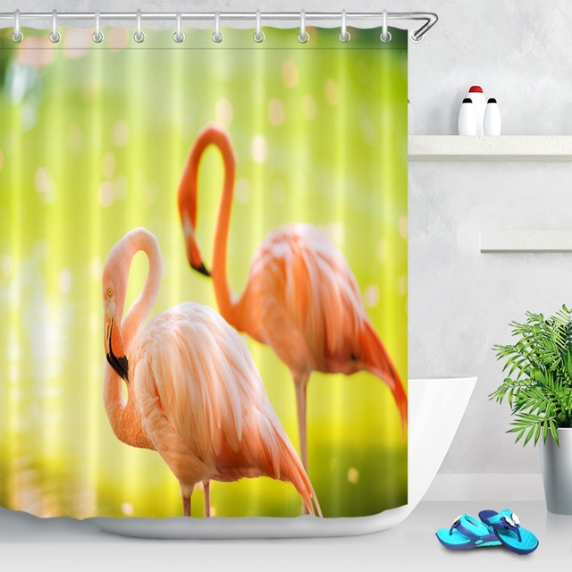 Exceptionnel Tropical Swamp Flamingo Shower Curtain Flicker Lake Custom Curtain For  Bathroom Waterproof Polyester Shower Curtains Hooks Set