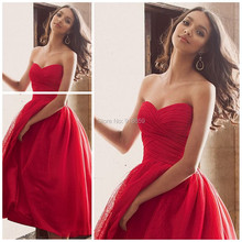 Wholesale Sweetheart A Line Soft Tulle Red Bridesmaid Dress vestido de baile