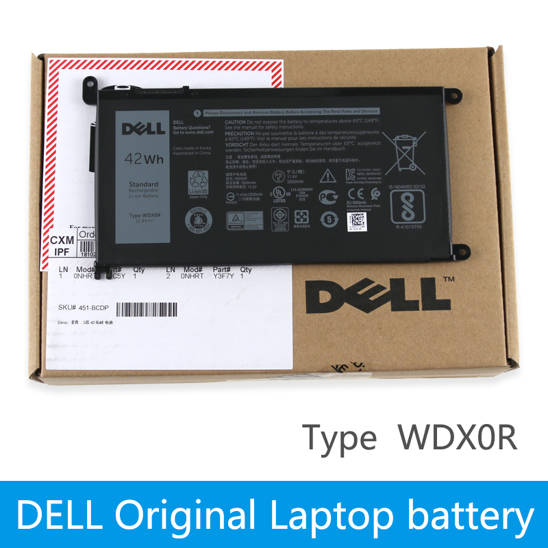 Dell D'origine batterie d'ordinateur portable Pour dell Inspiron 14 7000 5567 7560 7472 7460-d1525s 7368 7378 5565 latitude 3488 3580 WDXOR
