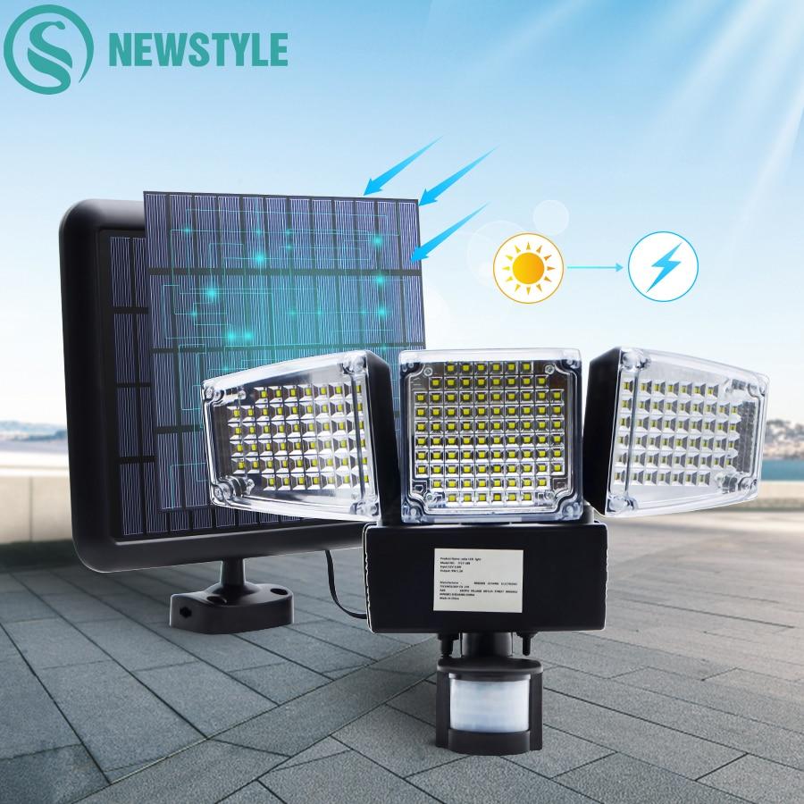 188 led cabeca tripla luz solar powered pir sensor de movimento 1000lm ao ar livre ativado