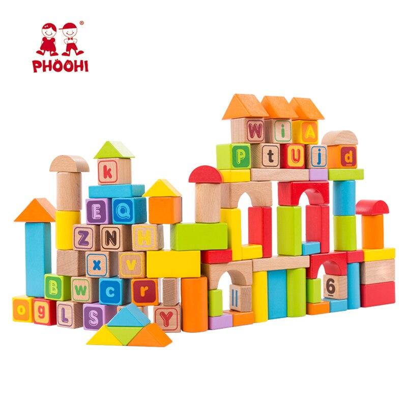 Bloc de construction en bois 88 pièces enfants numéro arithmétique éducatif Abc Alphabet bloc jouet pour enfants PHOOHI