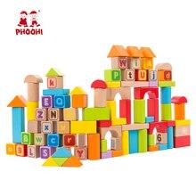 Wooden Building Block 88 PCS Children Arithmetic Number Educational Abc Alphabet Toy For Kids PHOOHI