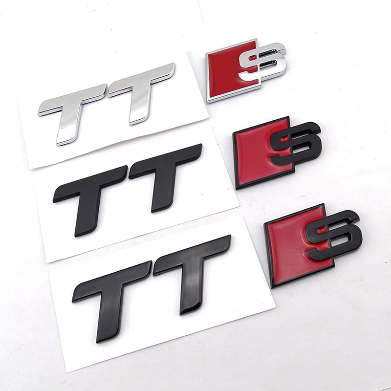 ABS Noir TT TTS Logo Arrière Tronc Emblème Badge Sticker autocollant pour Audi TT Quattro RS TDI Roadster Coupé Style accessoire