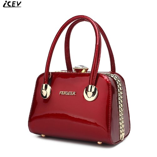 ICEV New Fashion Women Leather Handbag Patent Leather Bag Handbags Women Famous Brands Diamonds High Quality Ladies Office Totes icev luxury designer high quality patent split leather women s handbags famous brands lace embroidery messenger bag ladies tote