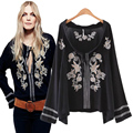 Elegant Floral Embroidery Blouse Women Shirts V Neck Flare Sleeve Flower Women Top Black Tops Blusas Femininas Female Shirt