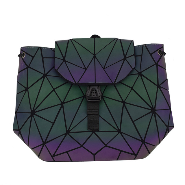 Women Laser Luminous Backpack Mini Geometric Shoulder Bag Folding Student School Bags For Teenage Girl Hologram Bao Backpack 4