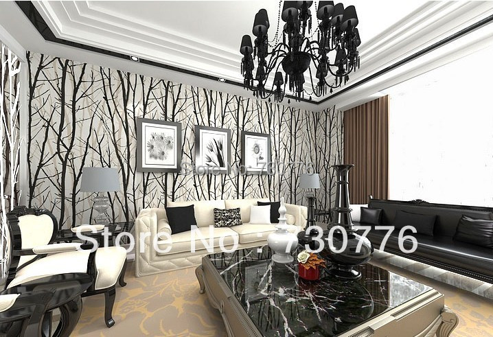 Modern brief style pvc wallpaper roll black white for Black and white room wallpaper